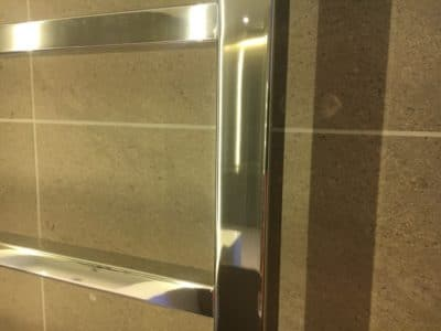 Chrome Scratch Repair | The similar angle view of the chrome towel rails shows no evidence of the previous scratch problem.