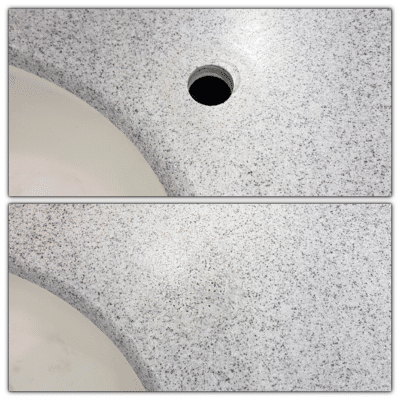 Corian Repairs To Mask Tap Holes | Before and after