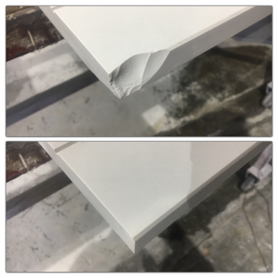 Dekton Chip Repairs | Chip repair before and after