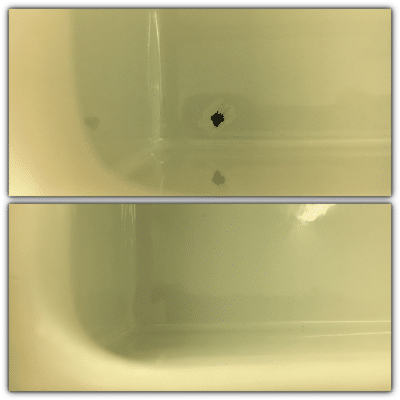 Enamel Sink Chip Repair | enamel chip repair before and after close up
