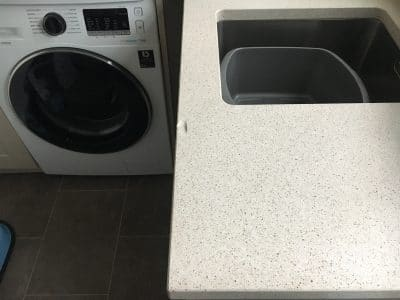 Engineered Quartz Kitchen Worktop Edge Chip Repair | The edge chip is obvious from far away
