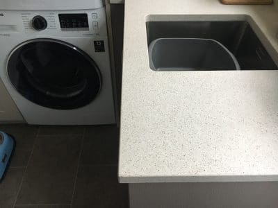 Engineered Quartz Kitchen Worktop Edge Chip Repair | After the repair from the same distance, there is no sign of damage