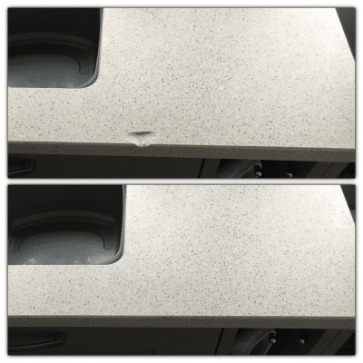 Engineered Quartz Kitchen Worktop Edge Chip Repair | Before and after photo of the work