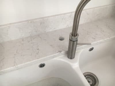 Engineered Quartz Stone Worktop Tap Hole Repair | Wider view shows the double sink and why the tap did not reach as expected