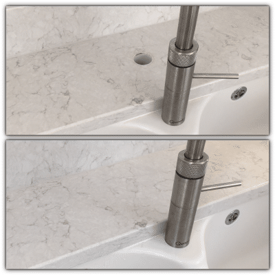 Engineered Quartz Stone Worktop Tap Hole Repair | Before and after shot of this restoration