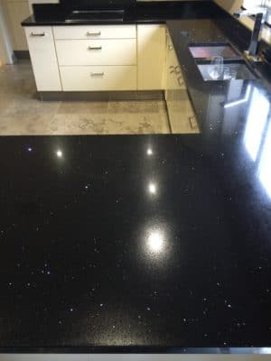 Engineered Stone Quartz Repair Heat Stain Treatment | A wide angle view of the worktop doesn't show the ring stain anymore and the entire worktop looks refreshed