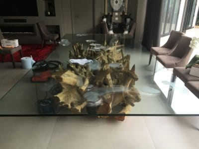 Glass Polishing Repair Custom Table Top | View of the polishing patches where the scratches were spotted and marked