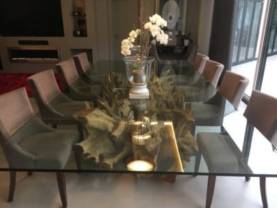 Glass Polishing Repair Custom Table Top | After the polishing repairs are completed the table can be dressed again