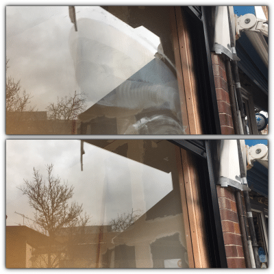 Glass Shop Front Scratch Graffiti Removal And Polishing | Before and after glass shot