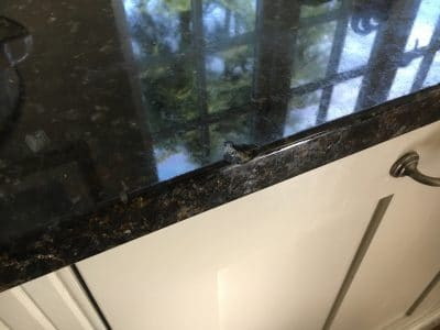 Granite Kitchen Top Edge Repair | Another view of the chip