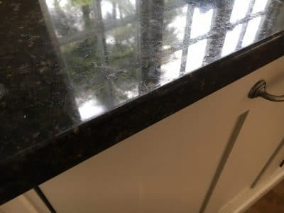 Granite Kitchen Top Edge Repair | The edge is restored to original finish