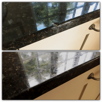 Granite Kitchen Top Edge Repair | Before and after