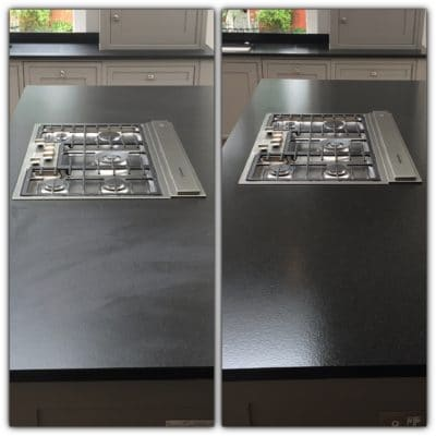 Granite Top Stain Treatment | Before and after look.