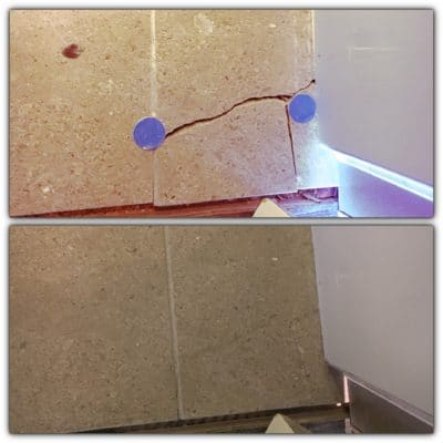 Marble Floor Tile Crack Repair | Second view of the broken tile before and after... #bespokerepairs