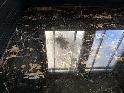 Marble Polishing Etch Repair | Against the shiny surface the etching is very obvious