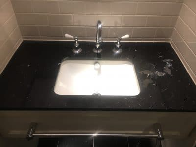 Marble Polishing To Nero Marquina Vanity Unit | White etching to marble vanity from normal use