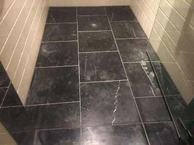 Marble Polishing To Nero Marquina Vanity Unit | Inside the shower, the tiles need some polishing and sealing