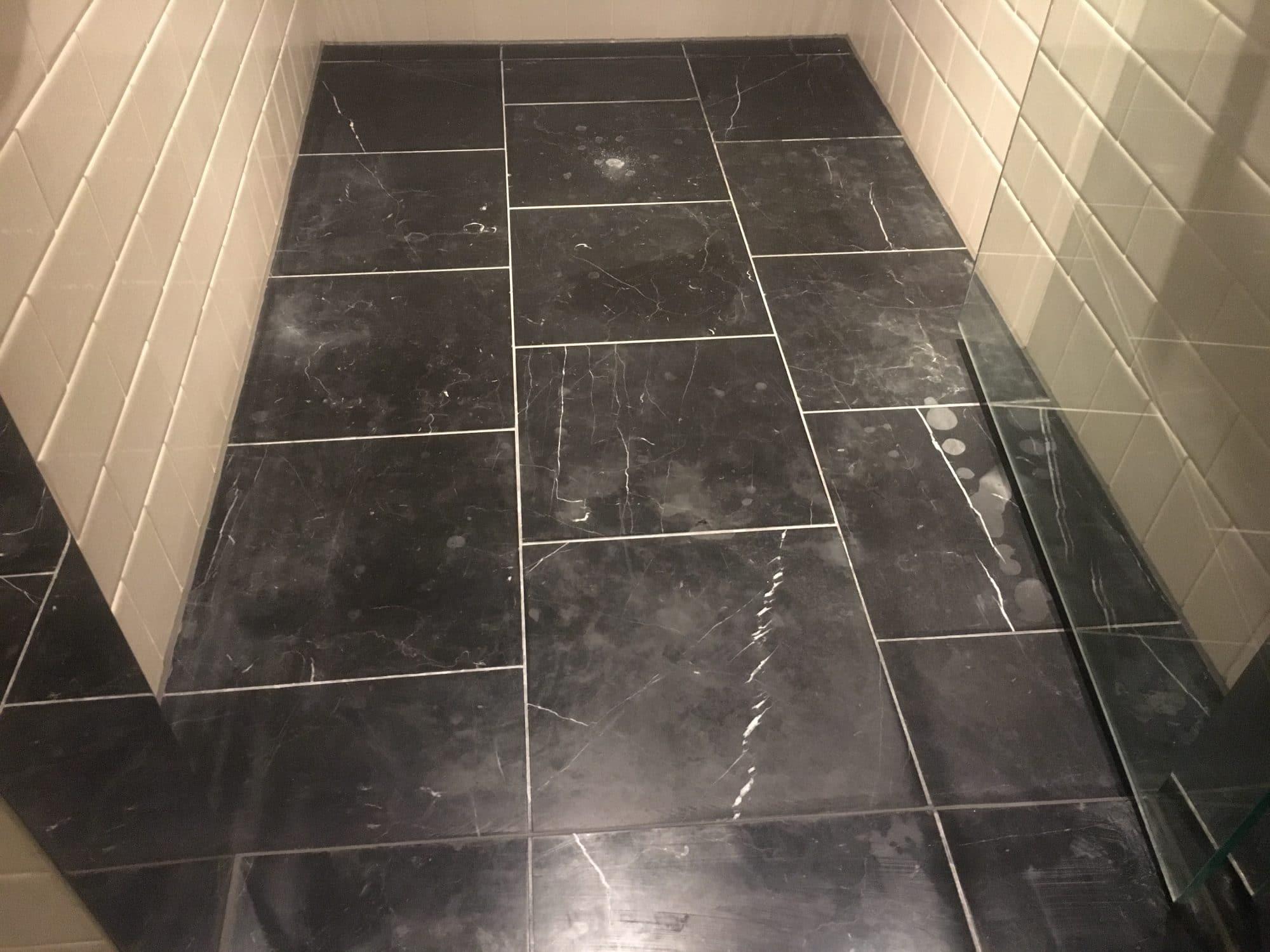 Marble Polishing To Nero Marquina Vanity Unit And Floor