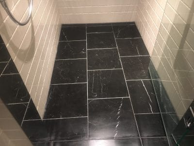 Marble Polishing To Nero Marquina Vanity Unit | After polishing to a satin finish the floors look much better