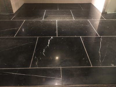 Marble Polishing To Nero Marquina Vanity Unit | No stains are visible anymore on the floor
