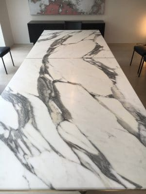 Marble Table Red Wine Stain Removal Repair | A wide angle view of this lovely table after sealing the stone shows no marks at all