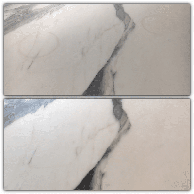 Marble Table Red Wine Stain Removal Repair | Before and After view of the stain