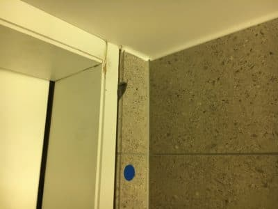 Marble Tile Chip Repair Restoration | Closer view of missing stone section