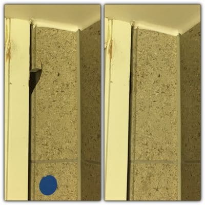 Marble Tile Chip Repair Restoration | Zoomed close up of before and after the restoration.
