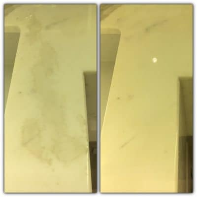 Marble Top Etch Stain Repair | Marble etch stain - before and after