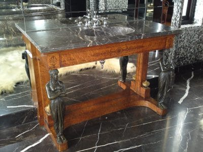 Marble Vanity Unit Restoration Protection | This marble top side sink was polished to clean the stone and the wooden base was traditional french polished to restore the colour and lustre