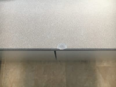 Neolith Barro Edge Chip Repair | Close up of the chip damage