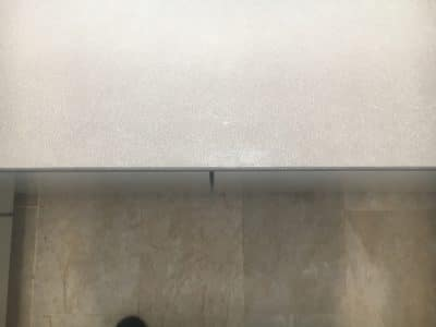 Neolith Barro Edge Chip Repair | The resin is cured and polished