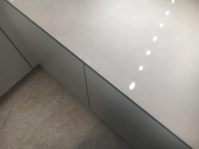 Neolith Barro Edge Chip Repair | The repair is done and barely visible now