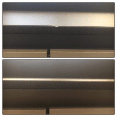 Neolith Barro Edge Chip Repair | Before and after of the profile