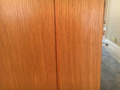 Oak Door Repair Chip Frenchpolish | A close up of the area