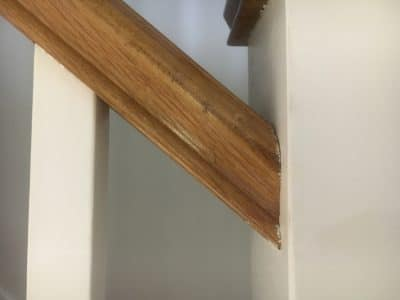 Oak Wood Repairs To Handrail And Doors | The cut is now filled and gone