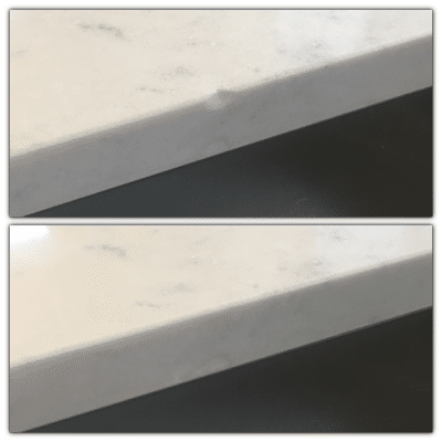 Quartz Broken Edge Chip Repair | Before and after shot of the work