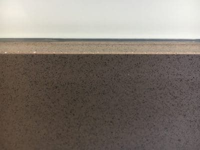 Quartz Kitchen Top Chip Repair | After colour matching with special resin, the damage is completely gone