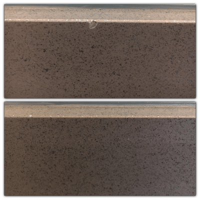 Quartz Kitchen Top Chip Repair | Before and after view of the repaired area