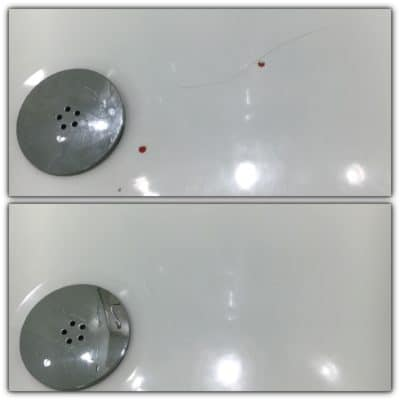 Shower Tray Plastic Repair | Before and after photo.