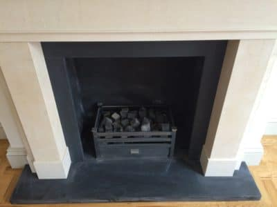 Slate Hearth | Overview of the new fireplace and slate hearth shows a general view of the item.