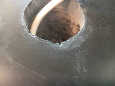 Slate Hearth Chip Repair On Led Fitting | The stone is prepared so the filler can hold on tighter as the top chip is quite shallow.