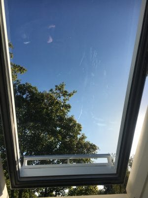 Velux Window Glass Scratch Repair | another view of the damaged glass