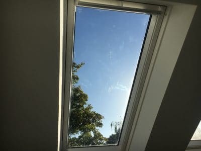 Velux Window Glass Scratch Repair |  The scratches are marked for repair
