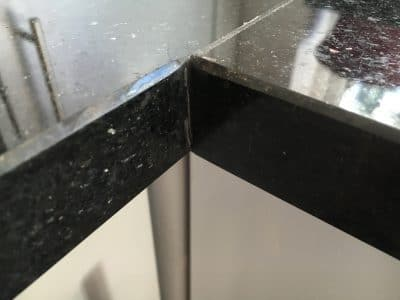Black Granite Kitchen Top Crack Repair | Corner redone.