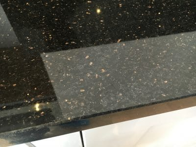 Black Granite Kitchen Top Crack Repair | Can hardly see the joint line now.