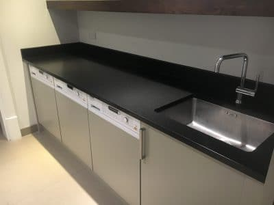 Black Granite Worktop Detergent Stain Removal | General view shows no marks at all to the worktop.