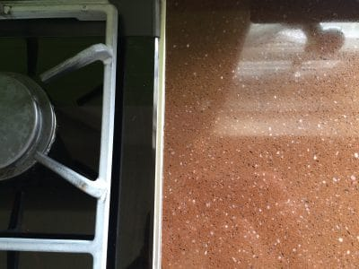 Chocolate Quartz Kitchen Top Stain Removal | No sign of the stains remain.
