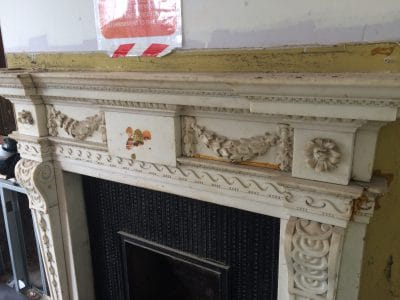Classic Fireplace Complete Restoration Galiford Try | Top mantle piece had contact glue and stickers on it with drawings in pencil and crayons.