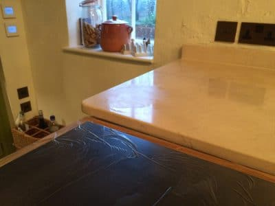 Cremamarfil Marble Kitchen Worktop Table Retore Stratch Stain Removal | Kitchen corner with acid stain.